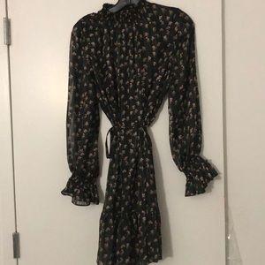 Floral l/s mock neck dress
